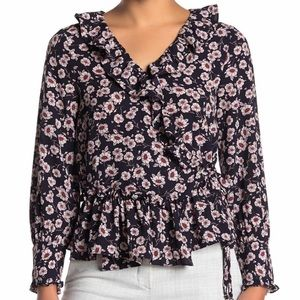 Everleigh Ruffle Floral Print Wrap Blouse Size  XS